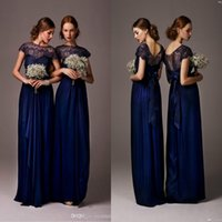 Reference Images A-Line Jewel/Bateau 2015 Navy Blue Bateau Sheer Lace Long Cheap Jewel bridesmaid Dresses Cap Sleeves Floor Length Evening Dress Prom Gowns Wedding Party Dress