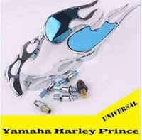 Wholesale Motorcycle Parts Mirrors - Harley Motorcycle Mirrors Universal Chrome Motorcycle mirrors ATV Rearview mirrors Side mirrors Modified Parts New Flame handlebar Parts top