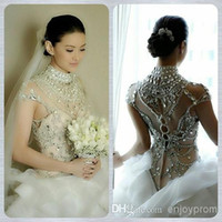 Wholesale Shine Wedding Gown - 2014 Hot Sale Ball Gown Wedding Dresses,Gorgeous White Organza High Neck See-Through Cap Sleeve Shining Sequins and Rhinestones Bridal Gown