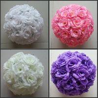"Wholesale Silk Flower Ball Orange - 10"" 25 CM Elegant Artificial Silk Rose Flower Ball Kissing Balls Craft Ornament For Wedding Party Decoration Supplies 16 Colors New"