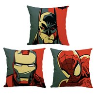 Wholesale Batman Throw - Carton super hero avengers Spider Man Batman Iron Man Throw Pillow Case square Cushion Pillow Cover cases bedding set Christmas Gift 240283