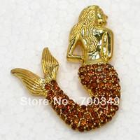 topaz pimleri broşlar toptan satış-Toptan 12 adet / grup Topaz Kristal Rhinestone Mermaid Broş Moda Kostüm Pin Broş Kolye C824 G2