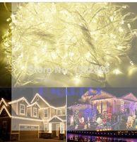 cadena de navidad al por mayor-Envío gratis 220 V UE Plug 100M 600 LED Chrismas luces exterior blanco cálido boda Año Nuevo Decoración de Navidad Twinkle String Fairy Lights