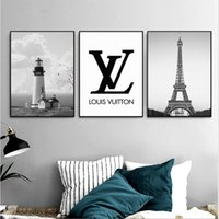 Wholesale Eiffel Tower Canvas Painting - Sales promotio 3 paintings for the lighthouse and the Eiffel Tower home decoration painted wall art painting crafts