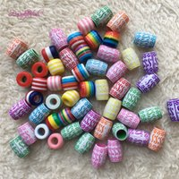 Wholesale multi color hair extension online - Colorful Dreadlocks Hair Ring Hair Braid Beads multi coloured hair braid dread dreadlock Beadsead Tube Charm Dreadlock Accessaries Extension