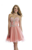 Wholesale Maxie Dresses - 2016 Morrell Maxie Homecoming Dresses A Line Crystals Beaded Peach Tulle Sweet Dresses with Sweetheart and Backless Short Mini Party Gown