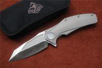 mejor cuchillo de camping pequeño al por mayor-Kevin John mango de titanio S35vn hoja rodamiento de la bola aleta plegable táctica de camping caza cuchillo bolsillo EDC herramienta