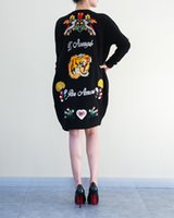 Wholesale Sweaters Butterfly - Wholesale- Fashion Autumn Women's Heavy Hand-Embroidered Butterflies Bees Dark Green Windbreaker And Long Sections Loose Christmas Sweater