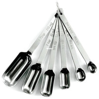 ingrosso acciaio di qualità commerciale-6 pezzi / set Cucchiaini di misurazione stretti in acciaio inox Ottimi per lo stoccaggio in barattoli