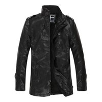 Wholesale Wholesale Leather Trench Coats - Fall-Winter Leather Jacket Men Faux Fur Warm Jackets and Coats Thickening Trench Coat Jaqueta de Couro Motorcycle Outdoor Jacket 3XL