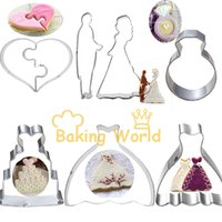 Wholesale Decorating Cutters - 8pcs Wedding Dress Bride Groom Ring Heart Stainless Steel Cookie Cutter Cake Molds Metal Fruit Betro Sandwich Decorating Tools