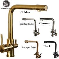 Wholesale Led Bathroom Faucet Bronze - Wholesale- Luxury Dual Spout Bathroom Kitchen Purification Faucet Drinking Tap Pure Water Faucet Dual Handle Hot and Cold Mixer Taps
