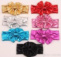 Wholesale Children Metal Headband - Shiny leather bow headband for children baby girls big elastic metal color head wraps turban bands bandana headband hair accessories BY0000