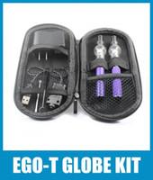 Wholesale Ego Tank Double Kits - Ego Double Starter Kit Glass Globe Tank For Wax Vaporizer Atomizer Electronic Cigarette M6 EGO-T Zipper Case Battery E-cigarette CA0008