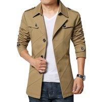 Wholesale Male Trench Coat Sale - Fall-HOT SALE fashion men trench coat cotton blends male overcoat outwear coat jaqueta masculina M 3XL 4XL