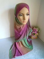 Wholesale Mixed Blend Weaves - L050 gradient ramp cotton blent long scarf hijab 10 colors in stock mix colors in one lot 20 pieces in one lot