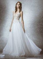 Wholesale Country Beauty - Beauty Zuhair Murad Boho Wedding Dress V Neck Bohemian Country Wedding Dresses Appliques Floor Length Illusion Cheap Beach Bridal Gowns