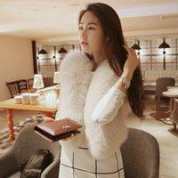 Wholesale White Elegant Cardigans - New Women Short Style Cute Casual Slim Elegant Fur Waistcoat Female Plus Size Autumn Winter Luxury Cardigan Faux Fur Vest V608