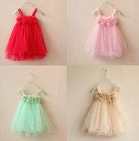 Wholesale veil chiffon - hammock straps flower petal dress girls flowers tutu dress kids princess veil dress suspender dress baby flower girl ball gown dresses