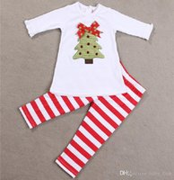 Wholesale Toddlers Christmas T Shirt - Christmas Outfits Sets kids boys girls White cotton embroidery t-shirt +striped pant sets Children Toddler Halloween baby Boutique Clothing
