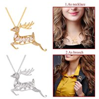 Wholesale Zirconia Brooch - U7 Leaping Deer Pendant Necklace Brooch AAA Cubic Zirconia Gold Platinum Plated Deer Charm For Women Christmas Gift P2499
