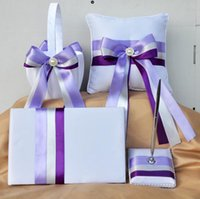 Wholesale Guest Basket - 2016 Romantic Wedding Decorations Purple Colors Aestheticism Satin Ring Pillow + Flower Basket + Guest Book + Pen Set Party Decor Supplies