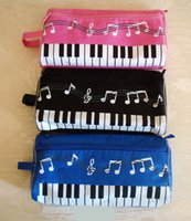 Wholesale Music Pencil Cases - Free Shipping Creative stationery student music note pencil case piano note pencil box Cosmetic bag wholesale