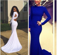 Wholesale Womens Dresses White Christmas - Simple Sexy White Blue Backless Mermaid Long Sleeve Ball Prom Dresses 2015 christmas evening dresses dresses for womens