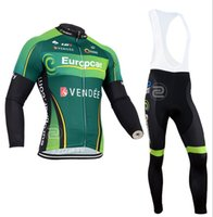 Wholesale Europcar Sleeve - 2015 NEW STYLE Europcar Men's Winter thermal fleece cycling jersey long sleeve and cycling bib pants