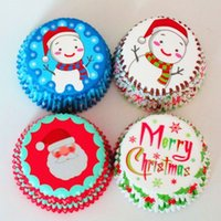 Wholesale Muffin Cases Free Shipping - Free shipping DIY 200PCS Christmas Kids New patterns design paper cupcake liners baking cup muffin cases cake! Cake cup