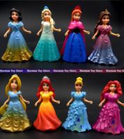 Wholesale Dresses For Big Figure - 9CM 8pcs lot PVC Princess Cinderella Elsa Anna Action Figure set doll dress can change Classic Toys kids toys for girl