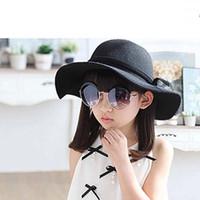 kızlar sonbahar yün şapka toptan satış-Kova Şapka Bebek Şapka Çocuk Kapaklar Çocuklar Şapkalar Kızlar Caps 2015 Sonbahar Kış Güneş Şapka Çocuklar Kap Kızlar Şapkalar Yün Kap Moda Geniş Ağız Şapkalar C15443