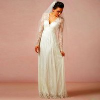 Wholesale Backless Lace V Neck - 2016 Lace V Neck Wedding Dresses With Illusion Long Sleeves A Line Backless Bridal Gowns Floor Length Wedding Dresses Custom Made