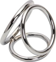 Wholesale Wholesale Metal Cock Rings - Wholesale Penis Ring Stainless Steel Metal 3-loops Chastity Lock,penis Clamp Cock Ring Cock Clamp Adult Game Sex Toys For Male A29