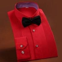 Wholesale Silk Mens Long Shirt - Wholesale-2015 Mens Wedding Shirt Groomsmen shirt French Men Casual Dress Shirts Bar waiter Cotton Long Sleeve Silk Shirts Performance