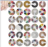 Wholesale Nail Art Disk - 30 Style Multicolor Acrylic Nail Art Decoration Glitter Rhinestones Stylish Nail Art Rhinestones Pearl 12 grids 1 Whole Disk Nail Sticker