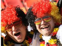 Wholesale World Cup Soccer Caps - Halloween disco curly wig Rainbow Afro wigs Clown Child Adult Costume Football soccer Fan Wig world cup wigs cap