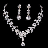 Wholesale Crystal Drop Ball Earrings - 2016 New Cheap Luxury Crystal Rhinestone Necklace and Earrings Jewelry Sets Bridal Jewelry Silver Wedding Accessories Cheap
