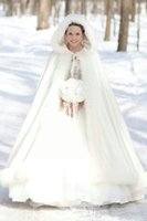 Wholesale Plus Size Wraps Boleros - Elegant Cheap 2017 Warm Bridal Cape ivory White Winter Fur Coat Women Wedding bolero Jacket Bridal Cloaks Plus Size Wedding Coat
