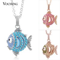Wholesale Brass Chimes - VOCHENG Bola Ball Lovely Fish Pendant Necklace Maternity Necklace Baby Chime Jewelry with Stainless Steel Chain VA-087