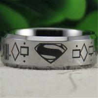 Wholesale Tungsten Superman Wedding Band - Free Shipping Wholesales Cheap Price Jewelry USA Hot Sales 8mm Men&Women's Classic Silver Bevel Superman Tungsten Wedding Ring SIZES 6-13
