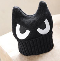 Wholesale Beanie Hat Horns - Wholesale-Big Eye Cat Women's Hats Winter Flanging Ox Horn Women's Knitted Hats Warm Beanie Hip Hop Autumn Men Hat Sombrero Mujer