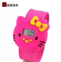 Wholesale Time Watch Cartoon - 2017 New Cartoon Hello Kitty Watches Children's pat KT cat jelly time Student children Digital Watches women men wristwatch
