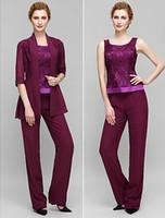 Wholesale Long Lan - 2016 Lan Ting Sheath Column Mother of the Bride Dress - Grape Ankle-length Half Sleeve Chiffon   Lace