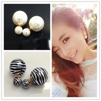 Wholesale Celebrities Earring - Celebrity Runway Double Pearl earrings Beads Plug Earrings Ear Studs Pin Big Pearl Earrings