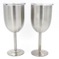 çift katmanlı cam kupa toptan satış-Gümüş 10 OZ Şarap gözlük Kadehler çift katmanlı Paslanmaz Çelik Şarap bardağı Bira kahve Kapaklı şarap cam