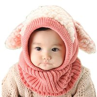 Wholesale Hooded Scarf Cute - KKbaby Super Cute Puppy Design Unisex Baby Infant Winter Warm Knitted Hooded Scarf Neck Warmer Hat Cap Shawls