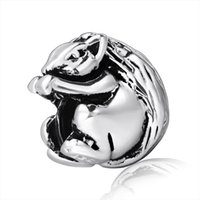 Metals squirrel charm bracelet - Squirrel European charm Sterling silver Beads for Pandora Snake chain Bracelets Charms Jewelry