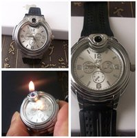 Wholesale Christmas Cigarette Lighters - 2015 New Luxury Military Lighter Watch Novelty For Man Women Quartz Sports Refillable Butane Gas Cigarette Cigar Watches Two Colors Factory
