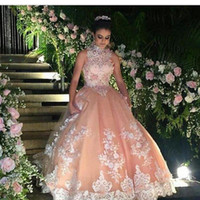 Wholesale Ups Specials Power - New High Neck Blush Pink Prom Dresses Sleeveless Appliques Beaded Tulle Floor Length Masquerade Ball Gowns Special Prom Dresses